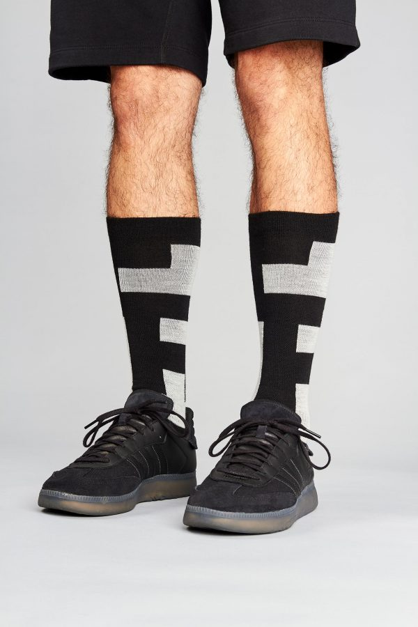 block socks on legs with shoes